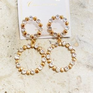 SOLD ✨NEW✨Gold & Crystal Circle Earrings!